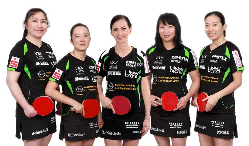 Die erste Damenmannschaft des TTK Anröchte, Tabellenschlusslicht in der Damen-Bundesliga. Von links nach rechts: Jing Tian-Zörner, Aimei Wang, Marta Golota-Dyjas, Yang Henrich und Qi Shi. (©Verein)
