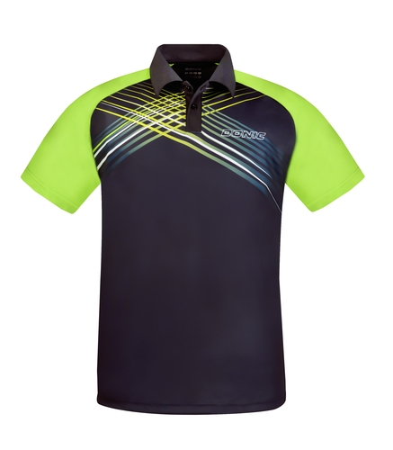 Eine DONIC-Textilneuheit im Jahr 2018 ist das Polo-Shirt RIVA. Es besteht aus feuchtigkeitstransportierendem DRYLITE-Funktionsmaterial. Weitere Infos unter: www.donic.com (©DONIC)