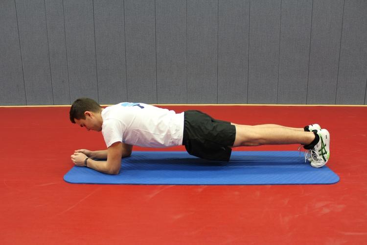 Übung 1 (Unterarmstütz): Wichtig ist hier, dass der Kopf, Brust- und Lendenwirbelsäule sowie Becken eine Gerade bilden. (©Schäbitz)