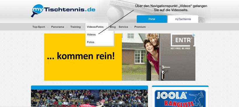 Der Weg von der myTischtennis.de-Startseite auf die Videoseite.