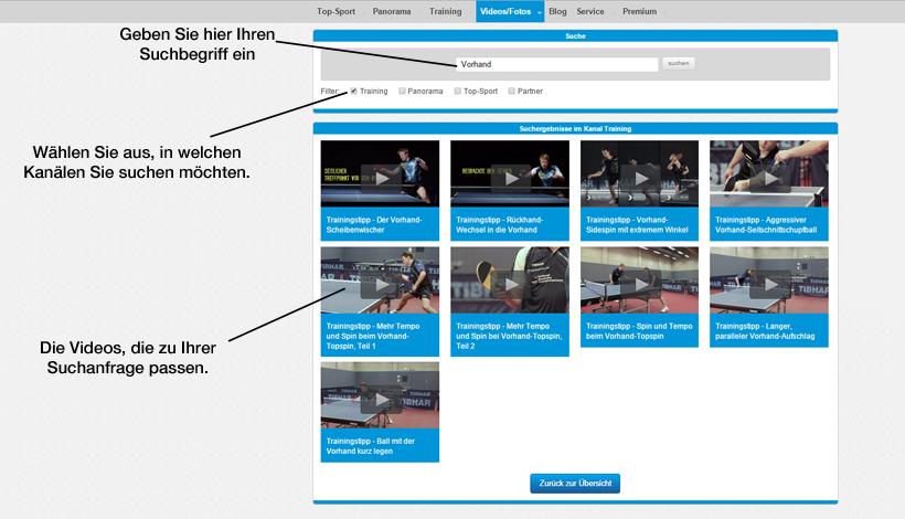 Die Suchseite - Durch die Filterfunktion gelangen Sie schnell zu den Videos, die Sie suchen.